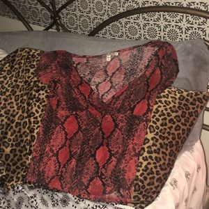 Red snakeskin top